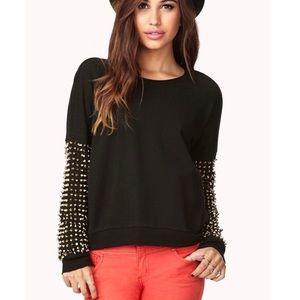 Forever 21 Tops - F21 Studded Black Crop Sweater